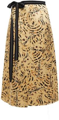 Marni Grosgrain-trimmed Printed Satin-crepe Midi Wrap Skirt