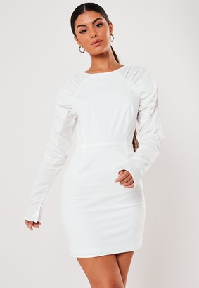 Missguided White Cotton Poplin Puff Sleeve Mini Dress