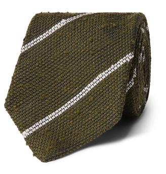 Drakes 8cm Striped Woven Silk Tie