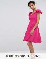 John Zack Petite Off Shoulder Mini Dress With Bow Sleeve Detail