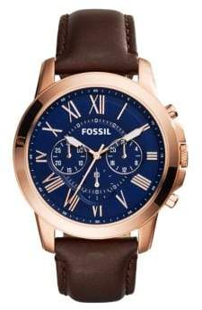 Fossil Mens Grant Rose Goldtone and Brown Leather Strap Watch