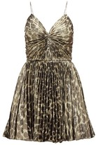 Saint Laurent Pleated Leopard-print Silk-blend Lame Mini Dress - Womens - Leopard