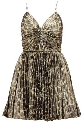 Saint Laurent Pleated Leopard-print Silk-blend Lame Mini Dress - Leopard