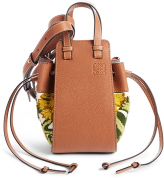 Loewe Mini Hammock Floral Leather Hobo
