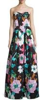 Milly Floral Sweetheart Ball Gown, Black