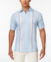 Cubavera Men's Linen Paneled Striped Shirt
