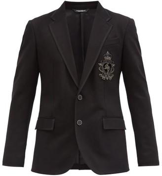 Dolce & Gabbana Single-breasted Logo-embroidered Twill Jacket - Black
