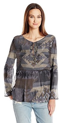 Dylan by True Grit Women's Sheer Aztec Alpette Blouse