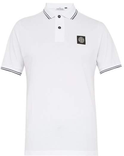 Stone Island Stretch Cotton Pique Polo Shirt - Mens - White