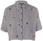Petite gingham embroidered shirt