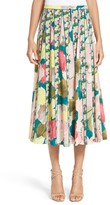 Lafayette 148 New York Women's Adalia Pleated Floral Silk Skirt