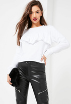 Missguided White Frill Front Sweatshirt