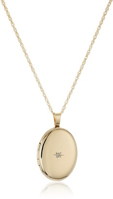 """Amazon Collection 14k Gold-Filled Polished Oval Pendant with Genuine Diamond Locket Necklace 18"""""""