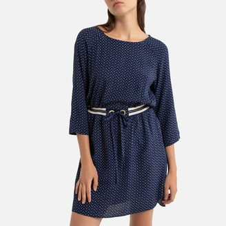 Only Tie-Waist Mini Dress with 3/4 Length Sleeves