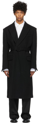 System Black Wool Wrap Tie Coat