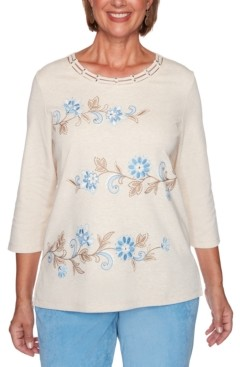 Alfred Dunner Petite Dover Cliffs Floral Scroll Biadere Embroidered Top