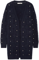 Jonathan Simkhai Pointelle-trimmed Embellished Wool Cardigan - Midnight blue