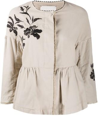 Bazar Deluxe Floral-Embroidered Linen Blazer