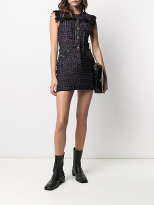 Tweed Denim-Embellished Mini Dress
