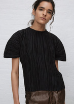 Haider Ackermann canis black short sleeve plisse top