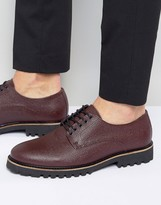 Asos Lace Up Shoes In Burgundy Leather