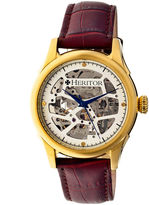 Heritor Automatic Nicollier Mens Skeleton Dial Leather-Gold/Brown Watches