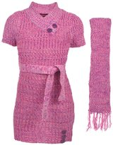 """Dollhouse Big Girls' """"Buttoned V-Neck"""" Sweater Dress with Scarf"""