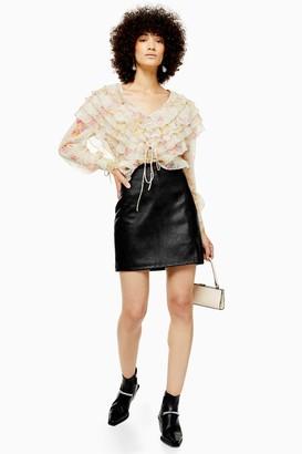 Topshop PETITE Black Leather Look Mini Skirt