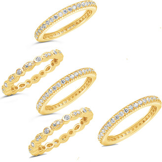 Sterling Forever 14K Over Silver Cz 5Pc Ring Set