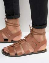 Asos Gladiator Sandals In Tan Leather With Tie Lace