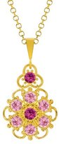 24K Yellow Gold Plated over .925 Sterling Silver Flower Pendant by Lucia Costin with 6 Petal Middle Flower, Twisted Lines, Dots, Light Pink, Fuchsia Swarovski Crystals