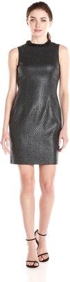 Andrew Marc Women's Sleeveless Sparkle Tweed Shift Dress