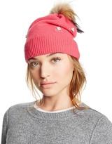 Aqua Knit Hat with Asiatic Raccoon Fur Pom-Pom - 100% Exclusive