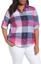 Foxcroft Plus Size Women's Reese Buffalo Check Shirt