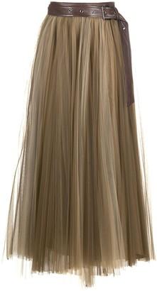 Brunello Cucinelli Pleated Tulle-Overlay Skirt
