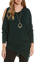 Gibson & Latimer Crew Neck Cold-Shoulder Asymmetrical Slouchy Sweater