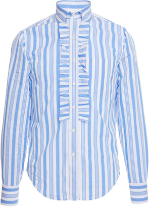 Prada Righe Baiadera Ruffle Cotton-Poplin Dress Shirt