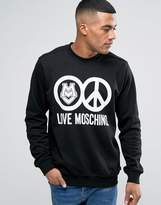 Love Moschino Sweatshirt In Black With Logo Print