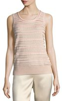 St. John Welted Sequined Knit Tank