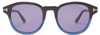 Tom Ford Gradated Round Acetate Sunglasses - Black Blue