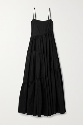 Matteau Net Sustain Open-back Tiered Cotton And Silk-blend Voile Maxi Dress - Black
