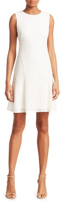 Akris Punto Grid Sleeveless Lace A-Line Dress