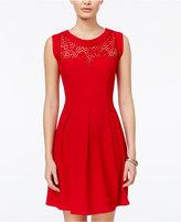 Speechless Juniors' Lace-Trim Pleated Dress