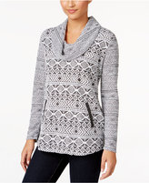 Style&Co. Style & Co. Petite Jacquard Cowl-Neck Sweater, Only at Macy's