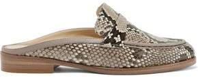 Alexandre Birman Leather-Trimmed Python Loafers