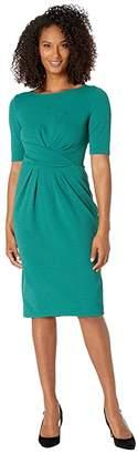 Adrianna Papell Rio Knit Draped Sheath Dress (Evergreen) Women's Dress