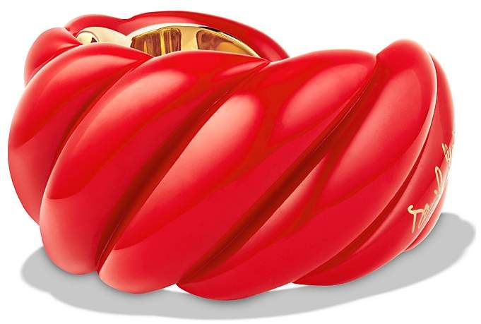 David Yurman Red Resin Sculpted Cable Cuff Bracelet with 18K Gold