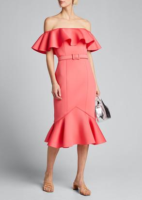 Badgley Mischka Off-the-Shoulder Scuba Ruffle Dress