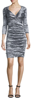 Nicole Miller Metallic Ruched Twist Bodice Sheath Dress