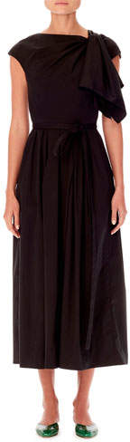 Carolina Herrera Cap-Sleeve Asymmetric Knot-Detail A-Line Midi Dress